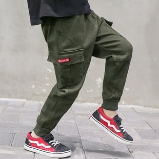 男童裤子春秋款春装洋气工装裤潮
