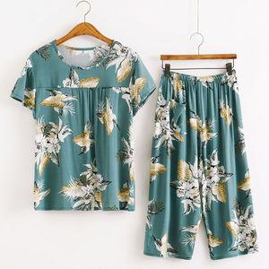 棉绸套装妈妈夏季居家服中年女装T恤七分裤