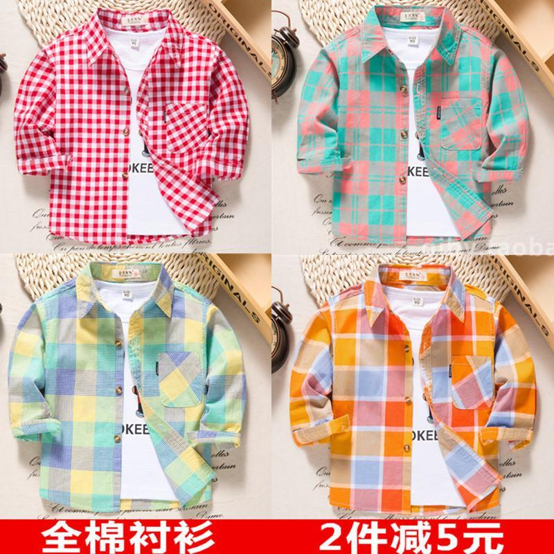 男童花衬衫小碎花休闲夏季短袖外穿时髦婴童方格男宝套装韩版长袖