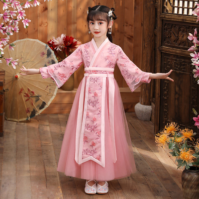 Chinese style 12-year-old girls Chinese Hanfu childrens ancient dress dress
