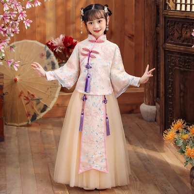 Chinese style girl Hanfu costume childrens ancient dress dress dress super fairy Baby New Years wear long sleeve
