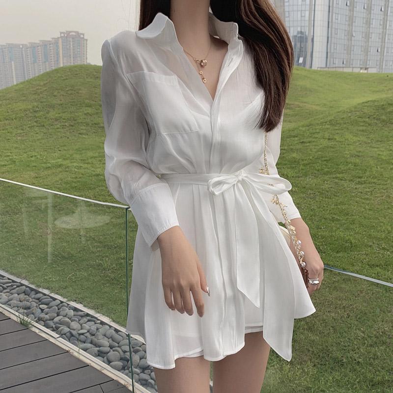 网红套装裙洋气很仙法国小众两件套轻熟风女装港味衬衫连衣裙显瘦