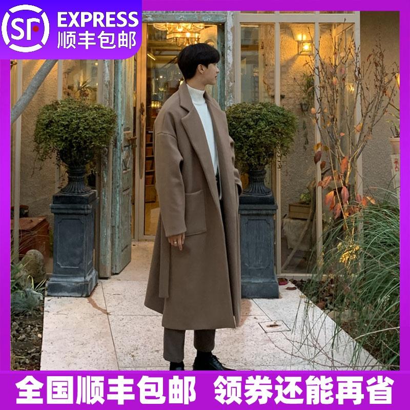 毛呢大衣男中长款2019冬季加厚冬天落肩夹棉英伦风韩版外套呢子