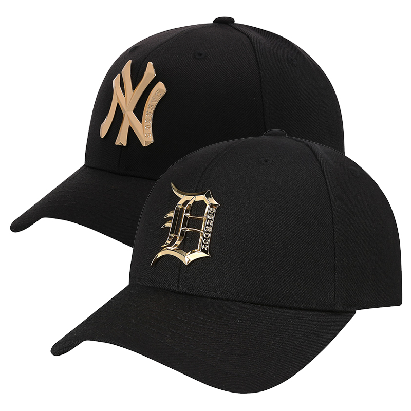 South Korea MLB baseball cap black hat gold lettering metal NY curved Eaves  adjustable hip- e8ccbec12c3