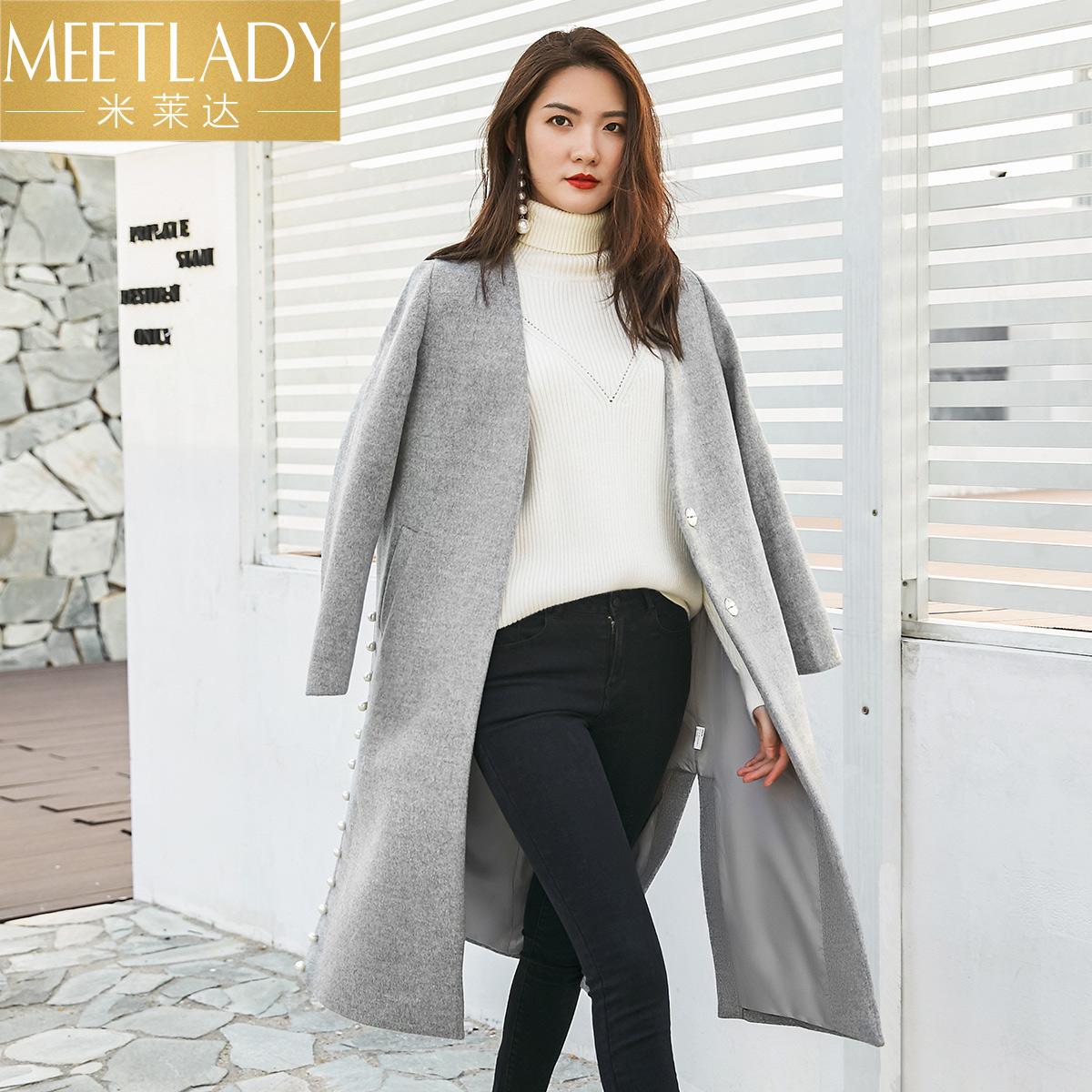 米莱达2018装新款长款V领纯色外套毛呢呢大衣秋7LNLN128