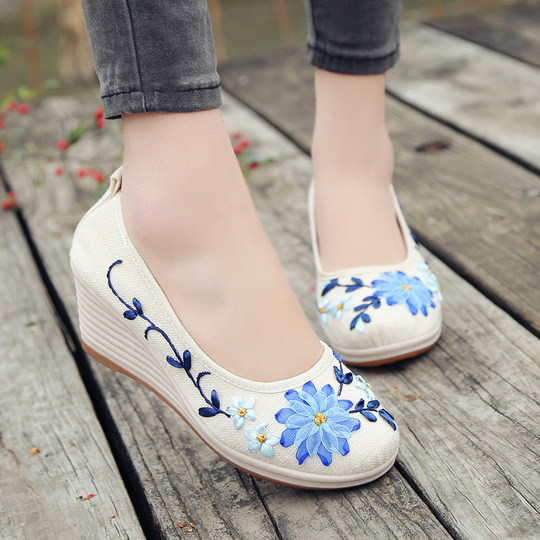 Chinese style linen shoes high heel embroidered shoes female old Beijing cloth shoes wedge with flat shallow mouth set foot breathable single shoes
