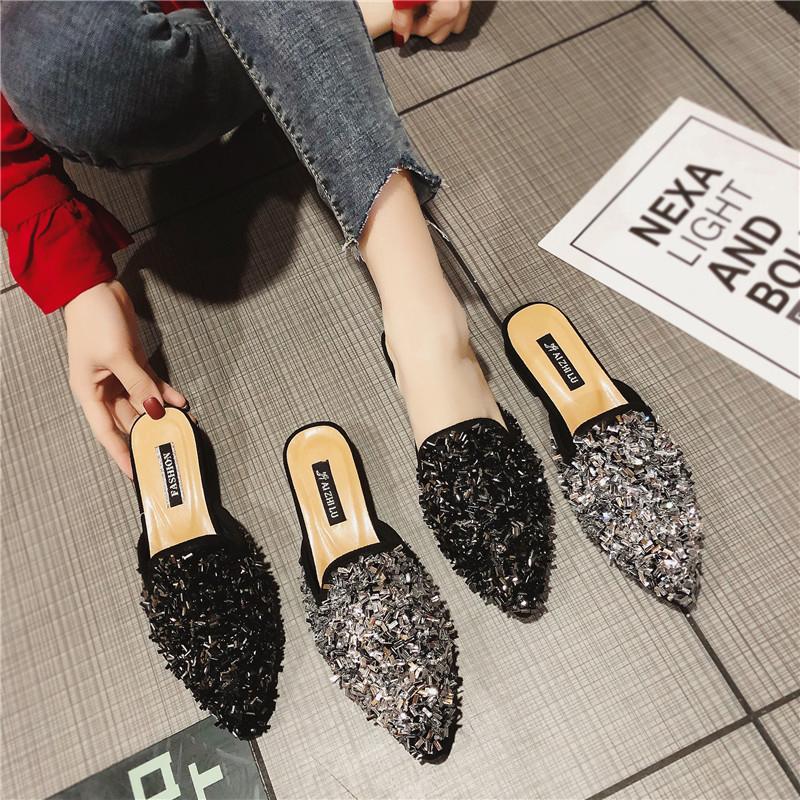 网红气质水钻亮晶晶包头平底拖鞋女2019春季新款欧美时尚百搭女鞋