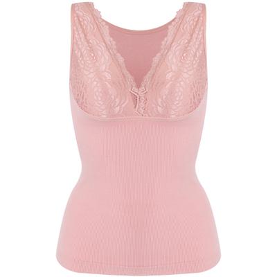 婷美新品薄款收腹束腰蕾丝边性感修身美体无袖舒适保暖背心