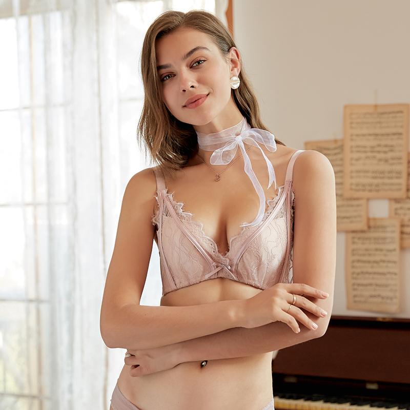 HT婷美性感法式蕾丝小胸聚拢文胸 无钢圈内衣女调整型收副乳胸罩