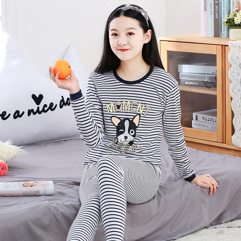 Teen autumn clothes autumn pants female pure cotton thin suit girl warm underwear Junior High School students tall child cotton sweater