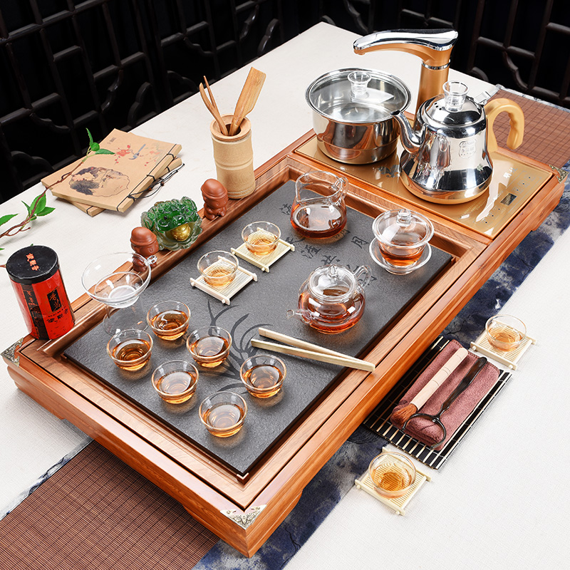 Xia Wei tea set Household automatic solid wood tea tray Drink tea ceremony Gongfu tea set set tea table Tea sea