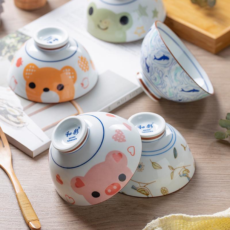日式碗小碗陶瓷碗家用卡通饭碗单个可爱创意碗宿舍用学生餐具套装