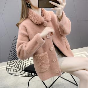 新款女水貂絨針織開衫毛衣