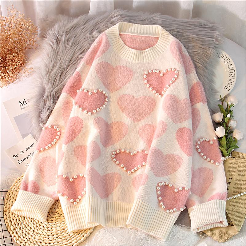Дикий свитер женский осенний зима корейский свободный верхняя одежда хеджирование розовый неосторожный ленивый ветер вязание свитер длина сгущаться 604300725545