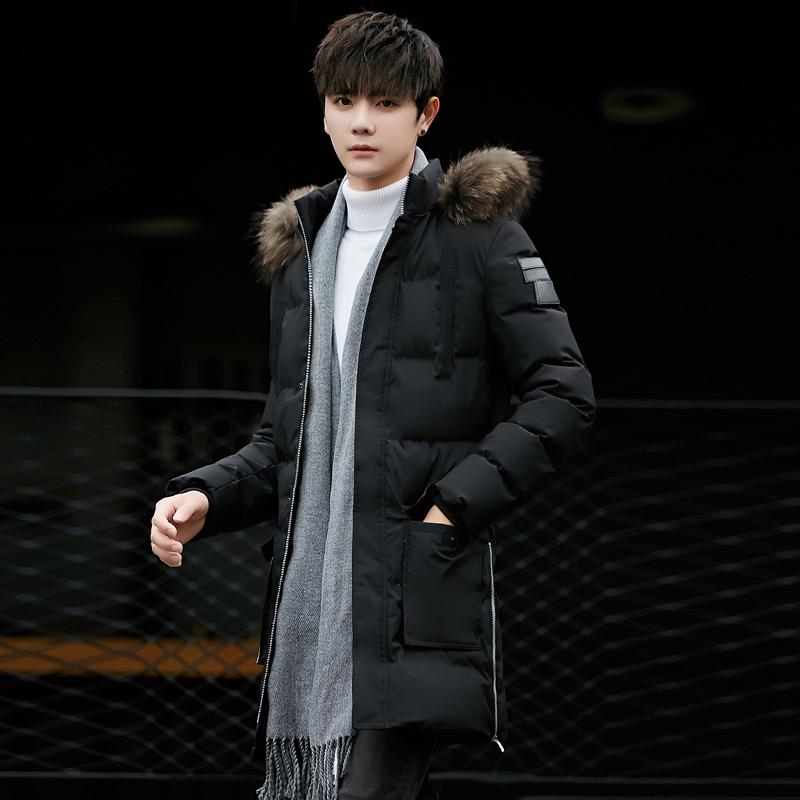 男士冬季外套2019新款韩版潮流中长款棉服男冬装上衣棉袄棉衣男装