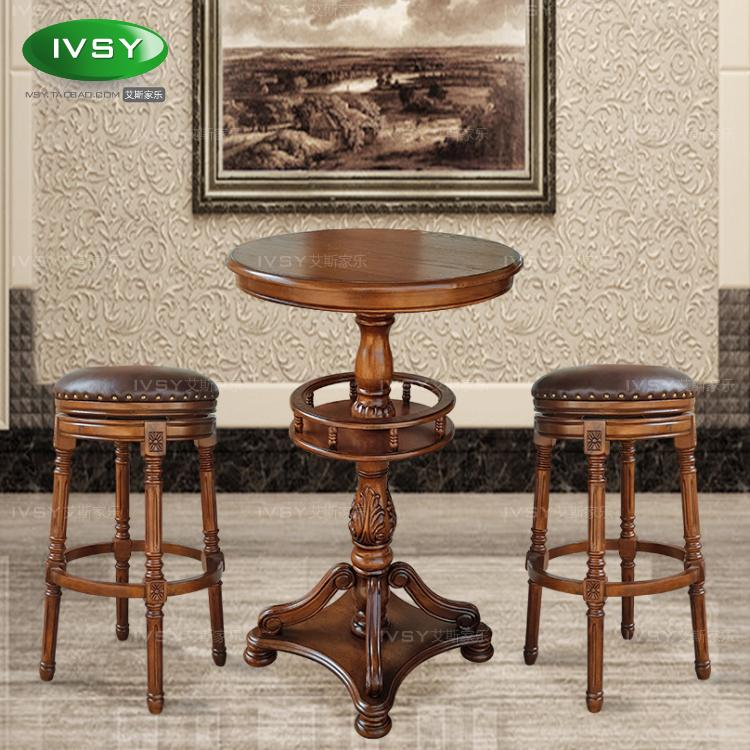 European Style High Foot Table Round Bar Home Solid Wood
