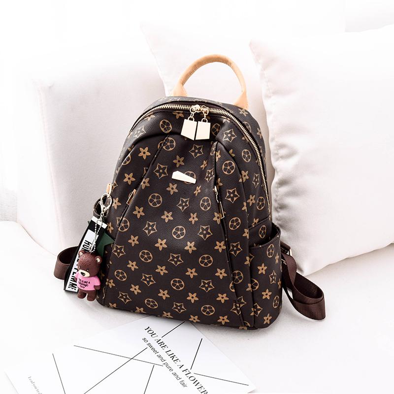 双肩包女2019新款潮韩版百搭时尚软皮质旅行女士小背包大容量书包