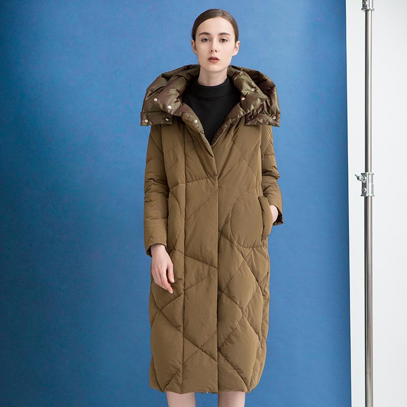 西纳维思时尚茧型阔型中长款羽绒服S740058