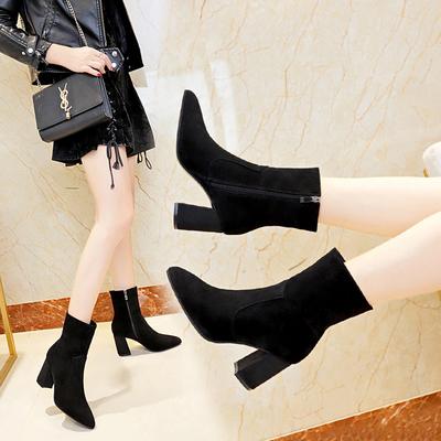 秋季绒面百搭马丁靴女英伦风粗跟中筒侧拉链尖头高跟短靴性感显瘦