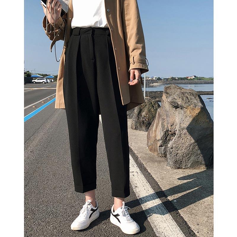 垂感萝卜裤九分秋冬直筒工装裤女胖mm大码宽松显瘦阔腿西装裤子潮