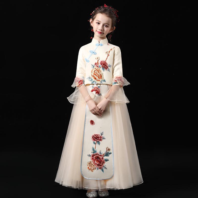 Đầm trẻ em váy công chúa 2020 cô gái mới catwalk Trung Quốc biểu diễn trang phục cô bé phong cách Trung Quốc trang phục sườn xám - Váy trẻ em