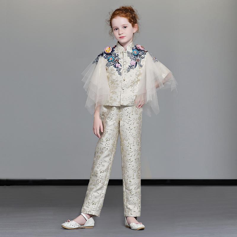 女童礼服模特走秀服装潮儿童时尚西装套装小女孩时装主持人晚礼服