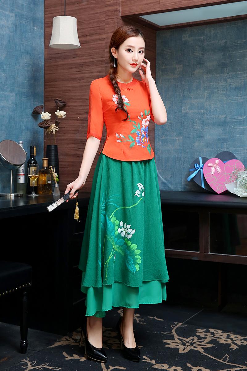 民族风旗袍上衣短款女士夏装中式盘扣显瘦民国风手绘棉麻中袖衬衣