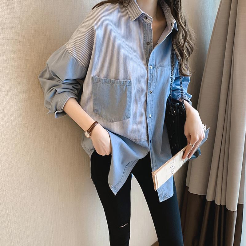 薄款上衣衬衣女棉麻宽松衬衫条纹v上衣长袖百搭韩版夏季牛仔气质潮