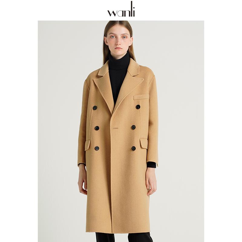 万丽(秋冬)双面呢服饰外套女中长款2019大衣新款羊毛羊绒呢子