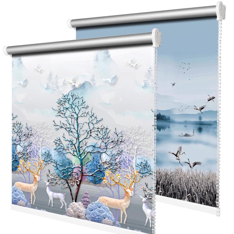 简易窗帘全遮光遮阳新款免打孔安装升降卫生间卧室卷拉式防晒隔热