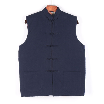 Retro cotton waistcoat men's Chinese vertical collar button Tang suit cotton jacket Chinese national wind sleeveless cotton shoulder thicker