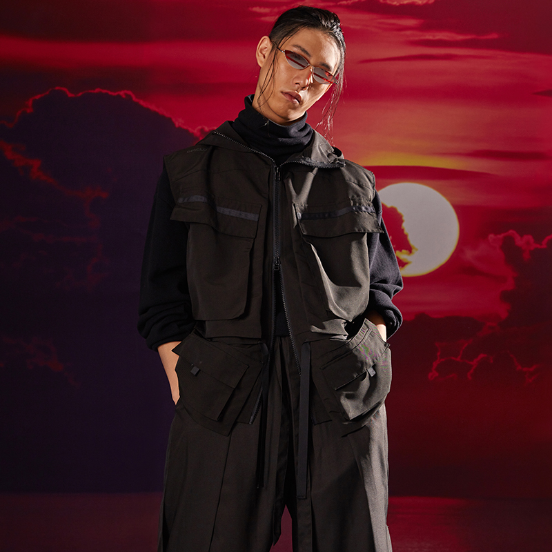 [PTECREW] OPIC 18AW KNIHT-ERRANT VEST cấu trúc linh hoạt áo vest samurai - Dệt kim Vest