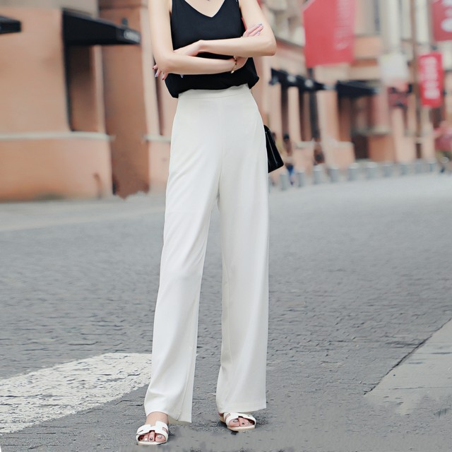 White high waist wide leg pants women's spring and summer drape straight trousers loose loose thin chiffon nine points casual trousers