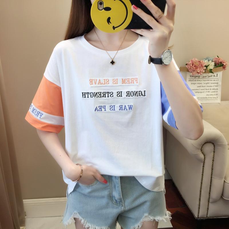 短袖T恤少女装夏季2019新款ins潮撞色初中高中学生韩版宽松上衣服