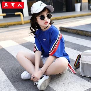 2019新款女童牛仔短裤短袖套装