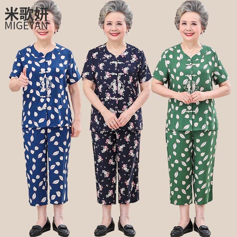 老年人夏装女棉绸老人装套装老太太60-70-80岁奶奶装衣服妈妈短袖
