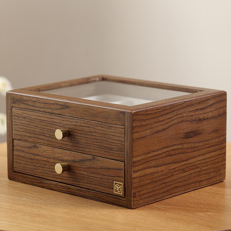 Aniok 木质首饰盒手饰耳环项链饰品盒双层大容量抽屉式收纳盒礼物