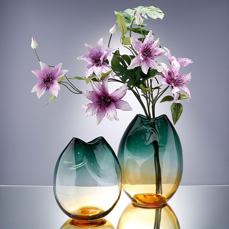Aniok 轻奢玻璃花瓶现代简约客厅家居摆件渐变色水培百合花插花器