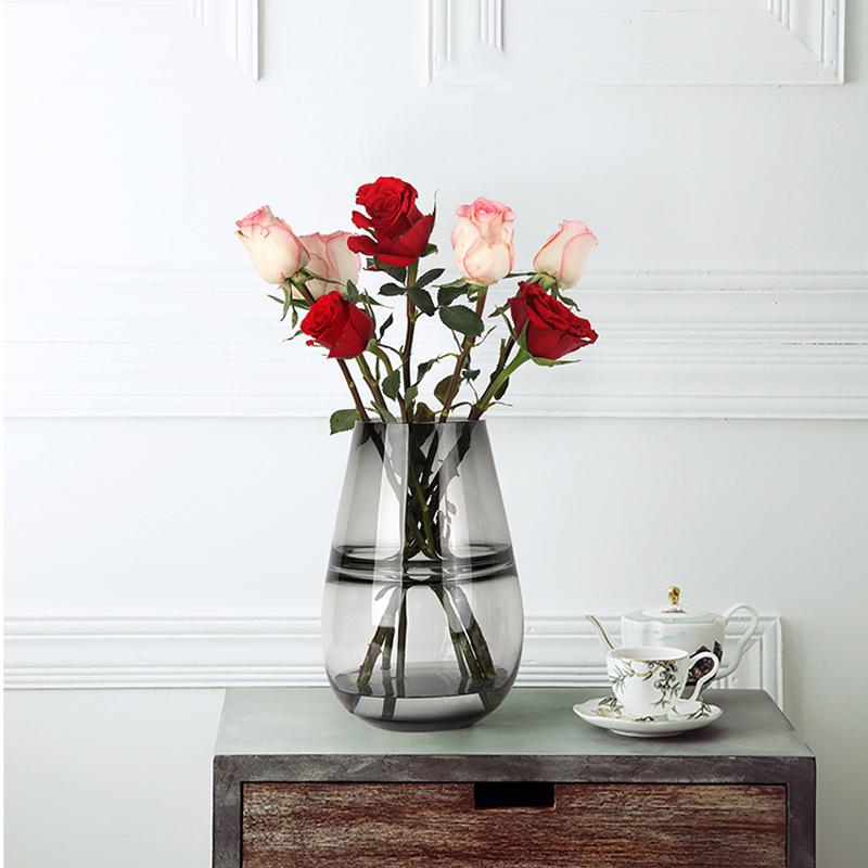 Aniok 玻璃花瓶现代简约家居客厅小清新水培鲜干花瓶绕丝软装饰品