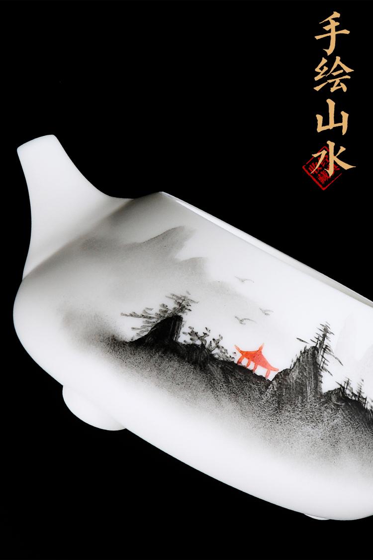 匠仙 手绘白瓷石瓢壶泡茶壶单壶陶瓷家用功夫茶具带过滤茶水壶