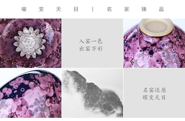 Ancient sheng up new gift boxes with silver ceramic irises temmoku tea oil sample tea cup masters cup