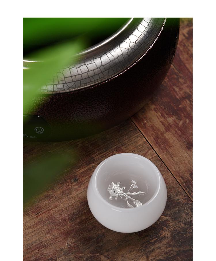 Ancient jade white jade sheng up porcelain cup with ocean 's silver single cup cup master jade jade sample tea cup tea sets tea cups
