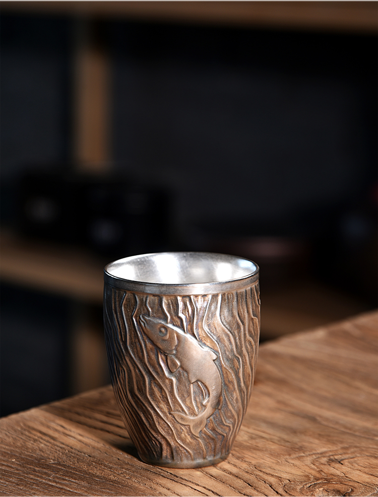 Ancient sheng up ceramic cups home tasted silver gilding kung fu master cup relief creative leap make tea cup with the cup