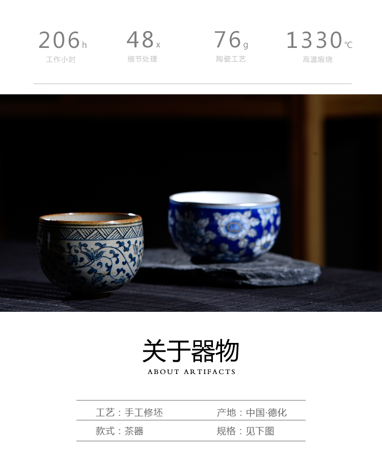 Old blue and white silver wire porcelain ceramic cups kung fu sheng up coppering. As silver cup single CPU personal tea light sample tea cup restoring ancient ways