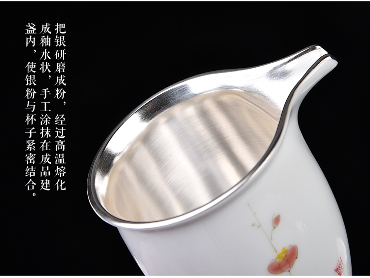 The ancient sheng jade blue and white safflower ceramic up new hand - made porcelain coppering. As silver suit household fair sample tea cup tea cup