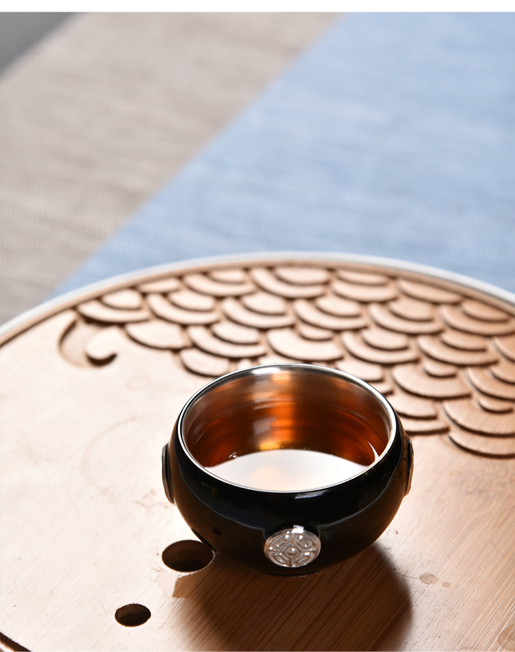 The ancient new gift boxes ore mo yu sheng up glaze ceramic tasted silver gilding agate glaze large sample tea cup personal single CPU