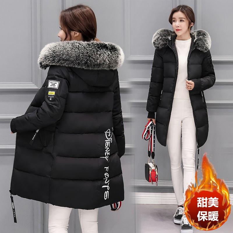 冬装2020新款韩版羽绒棉服女中长款保暖修身显瘦大毛领�锩薨劳馓啄�