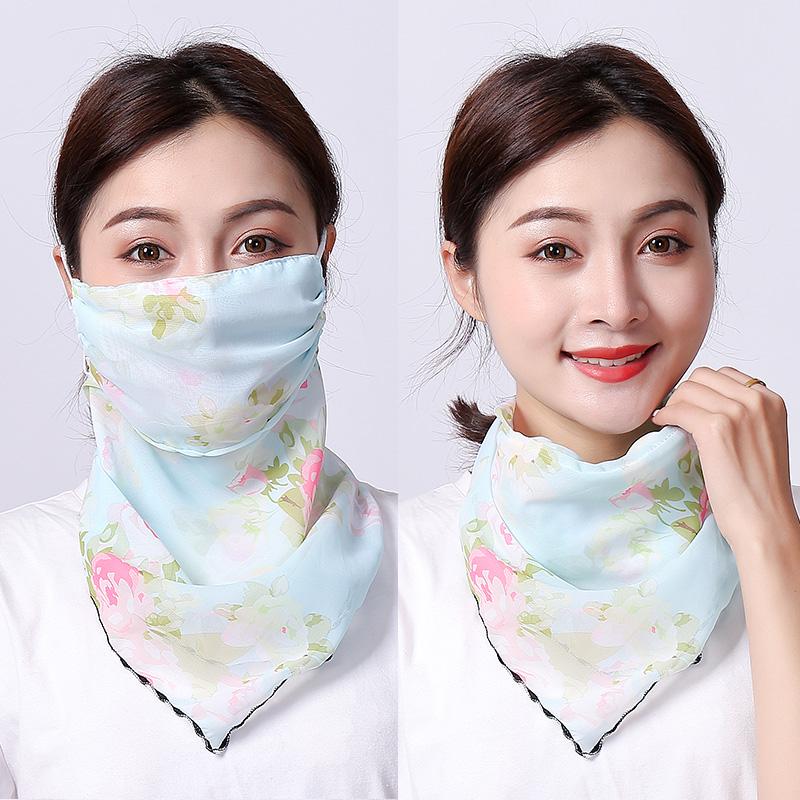 夏季防晒围脖口罩两用丝巾防紫外线挂耳式雪纺防尘全遮脸护颈脖子