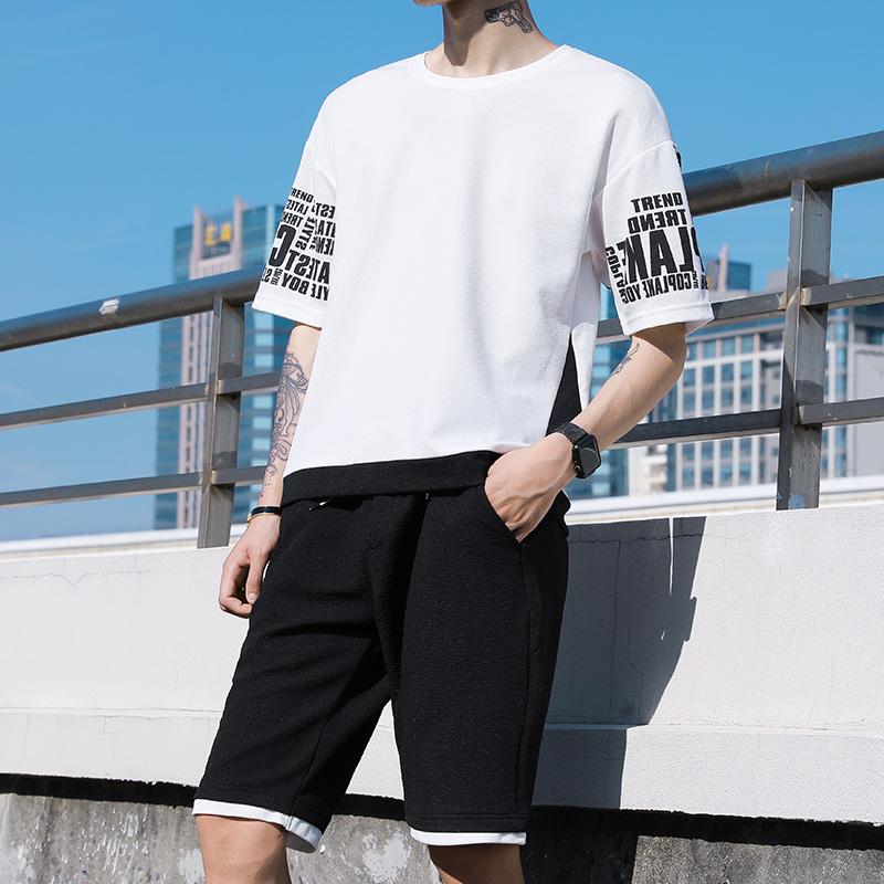 夏季短袖套装男士2019潮牌潮流男装休闲运动夏装短裤两件套t恤男
