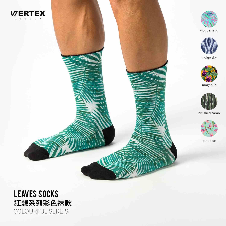 英国 Vertex London 夏季薄款透气排汗绿麻叶机能耐磨骑行中筒袜